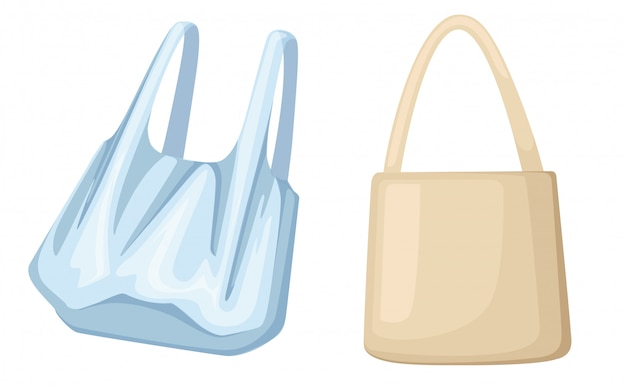 Ekologiczne torby papierowe i plastikowe. problem zanieczyszczenia ekologii. ilustracja na białym tle