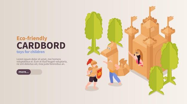 Ekologiczne zabawki dla dzieci szablon banera internetowego z chłopcem i dziewczynką bawiących się tekturowym zamkiem i smokiem izometrycznym