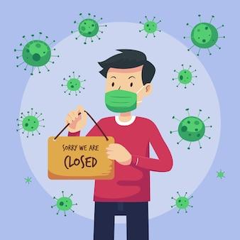 Ekologiczni mieszkańcy wiszący na zamkniętej szyldowej ilustracji z powodu koronawirusa