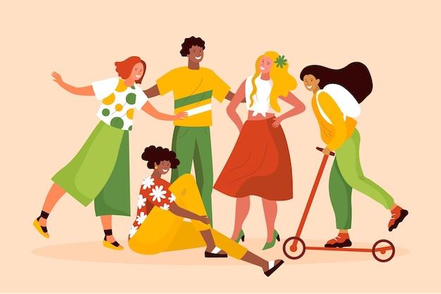 Ekologiczni płascy ludzie z letnią kolekcją ubrań