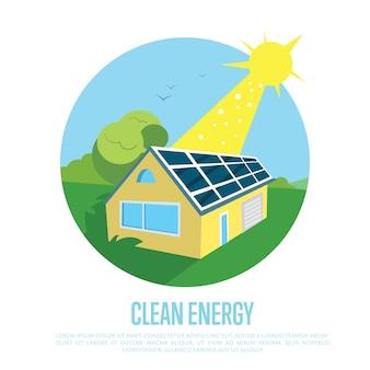 Ekologiczny dom z niebieskimi panelami słonecznymi na dachu.