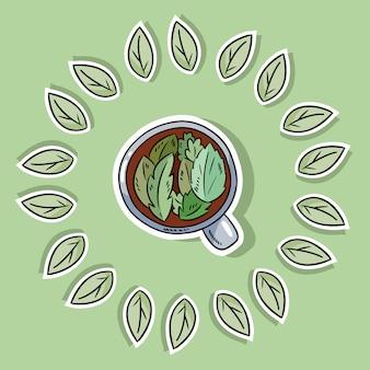Ekologiczny plakat spa z herbatą ziołową. zzielenieć