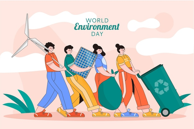 Ekologiczny, płaski światowy dzień środowiska, ocal planetę