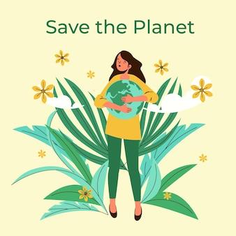 Ekologiczny, płaski światowy dzień środowiska, ratując ilustrację planety