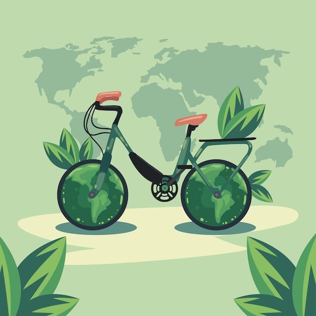 Ekologiczny rower na mapach ziemi
