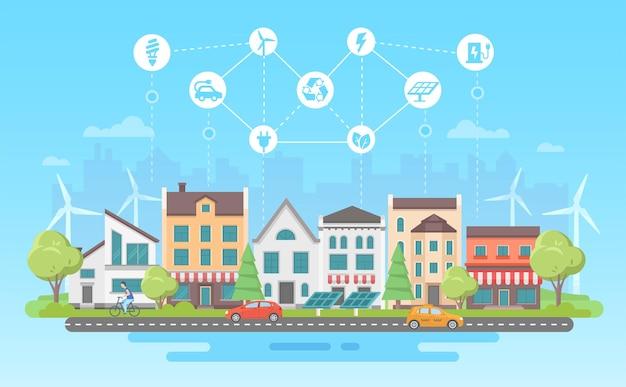 Ekologiczny styl życia - nowoczesny projekt płaski styl wektor ilustracja na niebieskim tle z zestawem ikon. pejzaż miejski z budynkami, panelami słonecznymi, wiatrakami. recykling, koncepcja oszczędzania energii