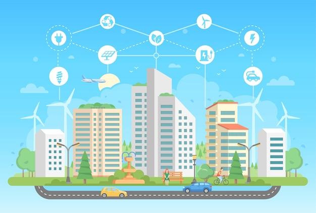 Ekologiczny styl życia - nowoczesny projekt płaski styl wektor ilustracja na niebieskim tle z zestawem ikon. pejzaż miejski z wieżowcami, fontanną, ludźmi, drogą. recykling, koncepcja oszczędzania energii