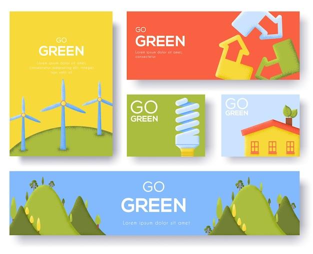 Ekologiczny szablon szablonu, przejdź zielony