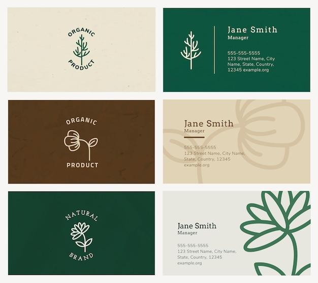 Ekologiczny szablon wizytówki wektor z zestawem logo sztuki linii
