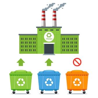 Ekologiczny zakład do przetwarzania niektórych rodzajów odpadów. płaska ilustracja.