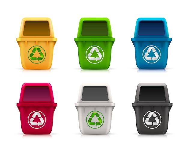 Ekologiczny zestaw na śmieci w kolorze sztuki. ilustracja wektorowa