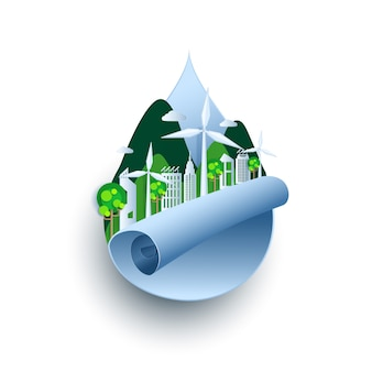 Ekologiczny, zielone miasto i energia odnawialna