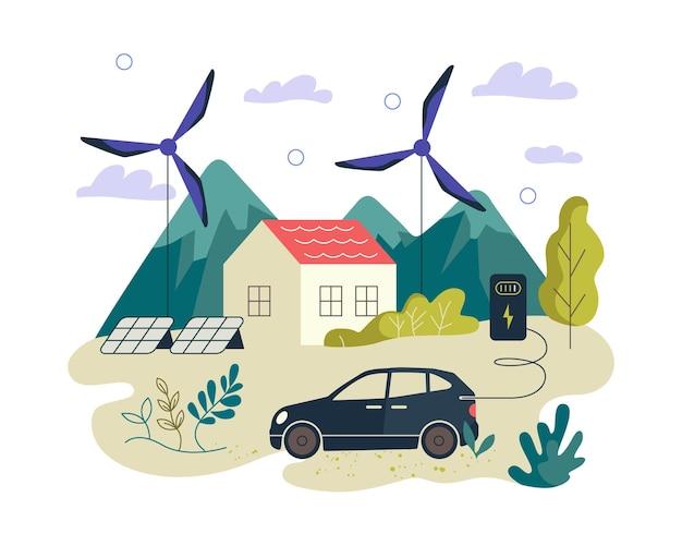 Ekologiczny Zielony Baner Energii Odnawialnej Elektryczny Samochód Inteligentny Dom Panele Słoneczne I Energia Wiatrowa Premium Wektorów