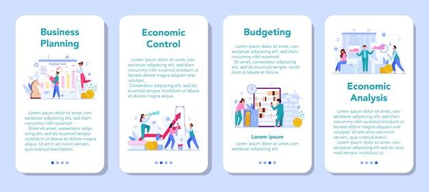 Ekonomia i finanse zestaw banerów aplikacji mobilnej