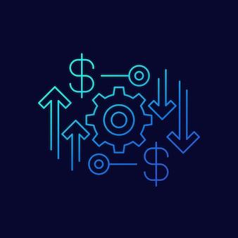 Ekonomiczna, finansowa ikona wektor liniowy