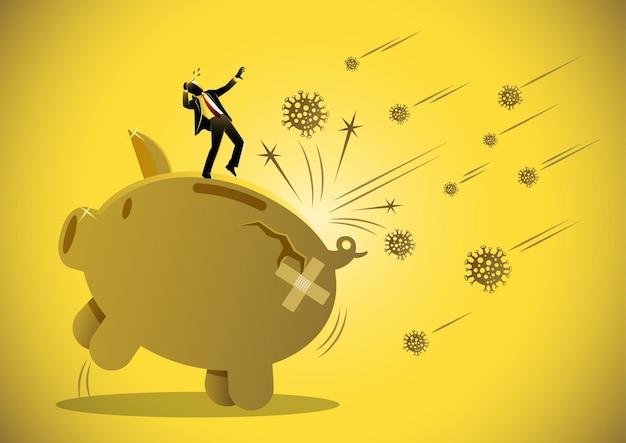 Ekonomiczny wpływ koronawirusa covid19 przestraszony mężczyzna i wielka pęknięta świnka