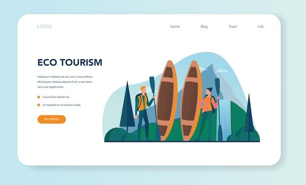 Ekoturystyka i eko podróżujący baner internetowy lub strona docelowa