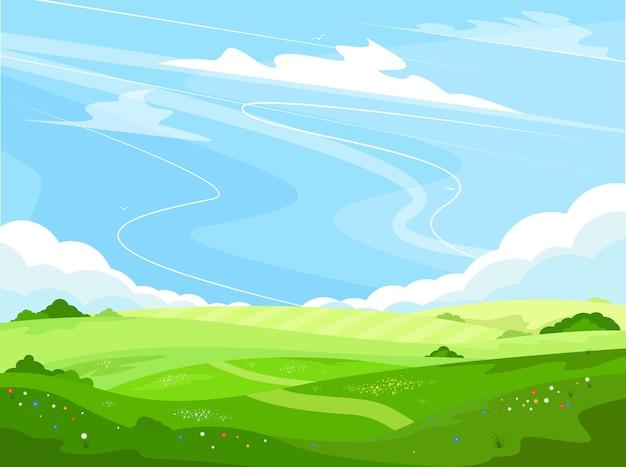 Ekoturystyka i wakacje na wsi. ekologia i środowisko. wiejski krajobraz z zielonymi wzgórzami i błękitnym niebem w stylu cartoon. piękna letnia łąka. tło pola uprawne wiosna.