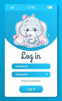 Ekran aplikacji mobilnej dla dzieci ze słodkimi słoniami z kreskówkową postacią kawaii. zaloguj się, utwórz konto gra na smartfona, aplikację społecznościową. rejestracja profilu użytkownika na niebieskich stronach ze zwierzęciem