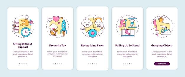 Ekran aplikacji mobilnej z koncepcjami na wczesnym etapie rozwoju dziecka