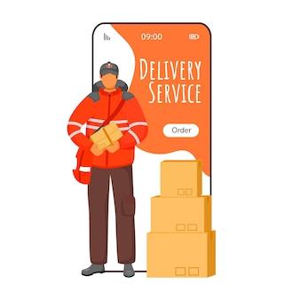 Ekran aplikacji na smartfona z usługą dostawy. powiadomienie o śledzeniu przesyłki. mężczyzna w mundurze brytyjskim. wyświetlacze telefonów komórkowych z płaską konstrukcją znaków. ładny interfejs aplikacji telefonicznej