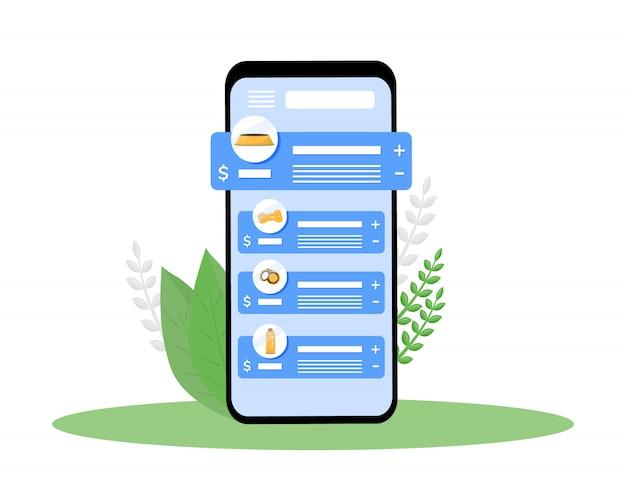 Ekran aplikacji na smartfony z kreskówek w sklepie zoologicznym