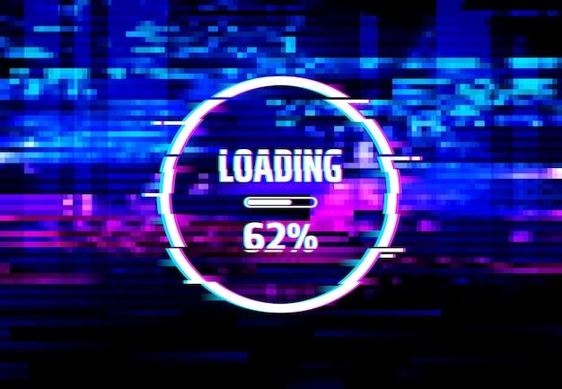 Ekran błędu ładowania z efektem usterki danych