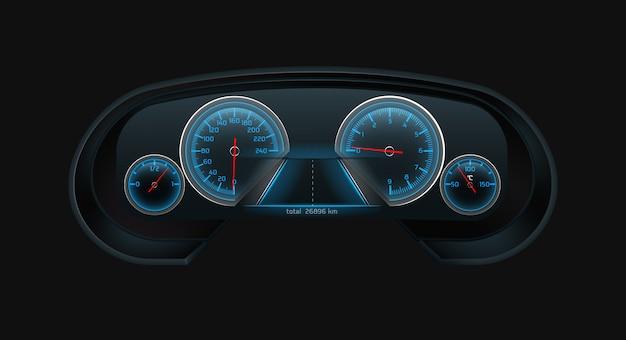 Ekran cyfrowej tablicy rozdzielczej samochodu ze świecącym niebieskim prędkościomierzem, obrotomierzem, poziomem paliwa, wskaźnikami temperatury silnika skaluje się realistycznie