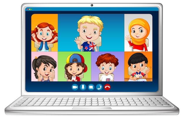 Ekran czatu wideo online studentów na laptopie na białym tle