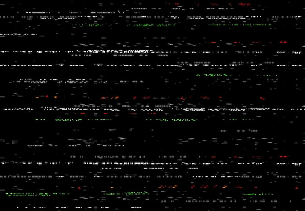 Ekran glitch vhs, efekt usterki wideo z losowymi liniami i szumem. abstrakcyjne zniekształcenia wektorowe, uszkodzona klisza aparatu lub czarne tło cyfrowego systemu wideo, poziome zniekształcone paski, brak sygnału