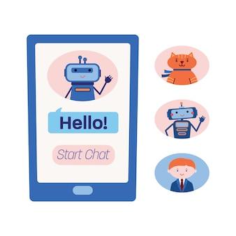 Ekran inteligentnego telefonu pokazujący czat z botem pomocy technicznej i trzy warianty innych chatbotów