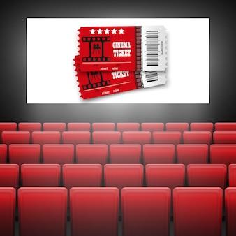 Ekran kinowy z czerwonymi siedzeniami. koncepcja graficzna projektu plakatu z premierą kinową .movie z białym ekranem.