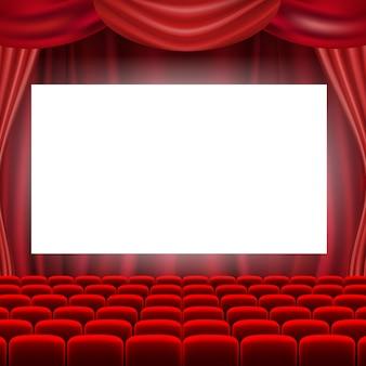 Ekran kinowy z czerwonymi zasłonami