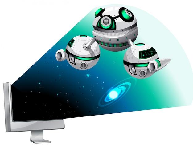 Ekran komputera z lecącym statkiem kosmicznym