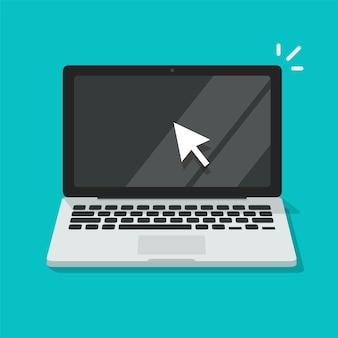 Ekran komputera z płaską ikoną strzałki myszy