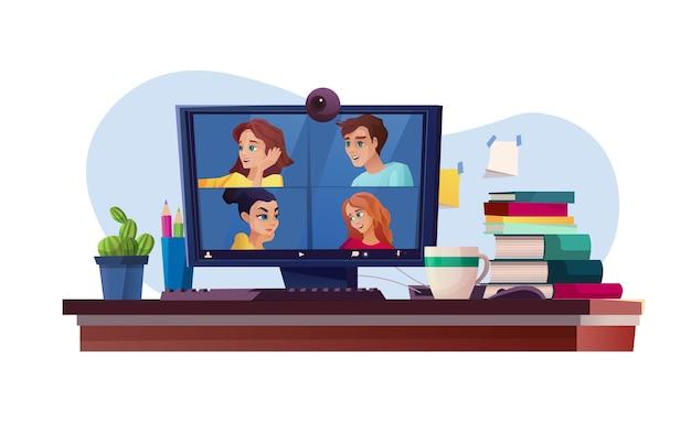 Ekran komputera ze szkoleniem lub edukacją w zakresie wideokonferencji. ludzie pracują zdalnie jako zespół