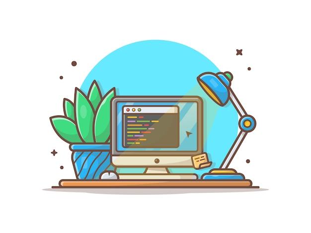 Ekran komputerowy z ilustracją kodu, rośliny i lampy