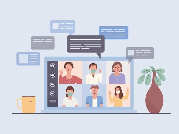 Ekran laptopa pokazuje wideokonferencję zespołu biznesowego. spotkania ludzi online przez internet. ilustracja przedstawiająca nowe, normalne i nowe zachowanie w pracy w domu.