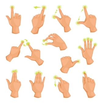Ekran mobilny gadżet ruchome palce gesty dotyk i dłoń komunikacja telefoniczna dotykowy ekran elektroniczny tablet
