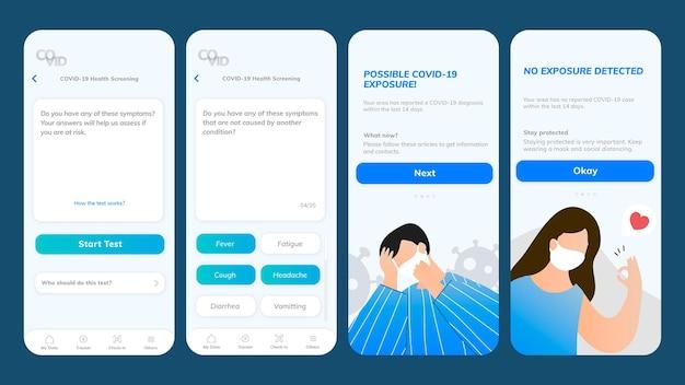 Ekran mobilny szablonu aplikacji do badania stanu zdrowia na covid-19