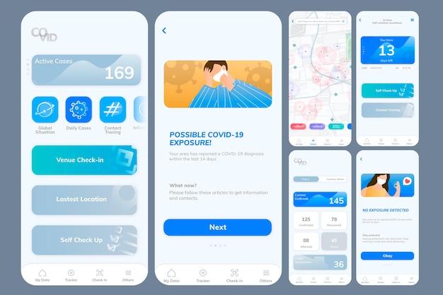 Ekran mobilny szablonu aplikacji śledzącej covid-19