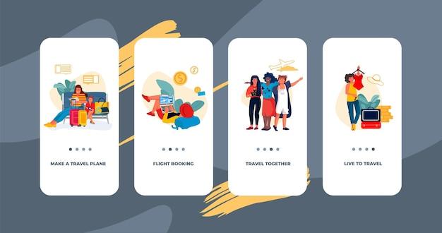 Ekran pokładowy w podróży. szablon interfejsu użytkownika aplikacji mobilnej ze szczęśliwymi turystami.