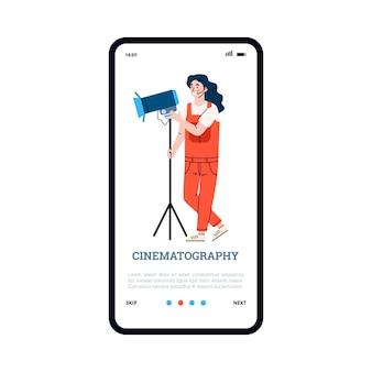 Ekran powitalny z ilustracją wektorową płaskiego kreskówka na białym tle