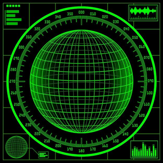 Ekran radarowy. cyfrowa kula ziemska ze skalą.