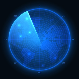 Ekran radarowy. wojskowy niebieski sonar. mapa wektorowa interfejsu nawigacji. ilustracja monitora nawigacji, wojskowy sprzęt cyfrowy