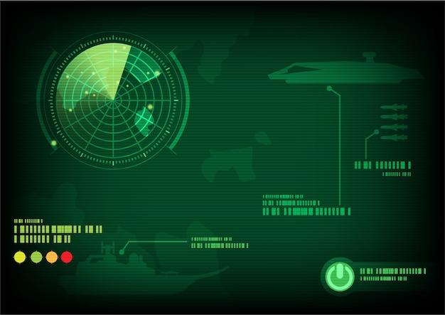 Ekran radarowy zielony. ilustracji wektorowych