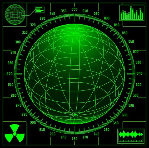 Ekran radaru z cyfrową kulą i skalą.