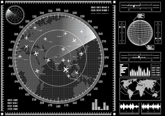 Ekran radaru z futurystycznym interfejsem użytkownika hud.
