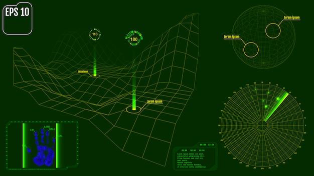 Ekran radaru z planetą, mapą, celami i futurystycznymi inter