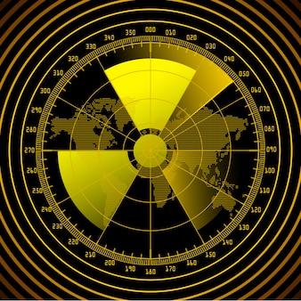 Ekran radaru ze znakiem radioaktywnym.